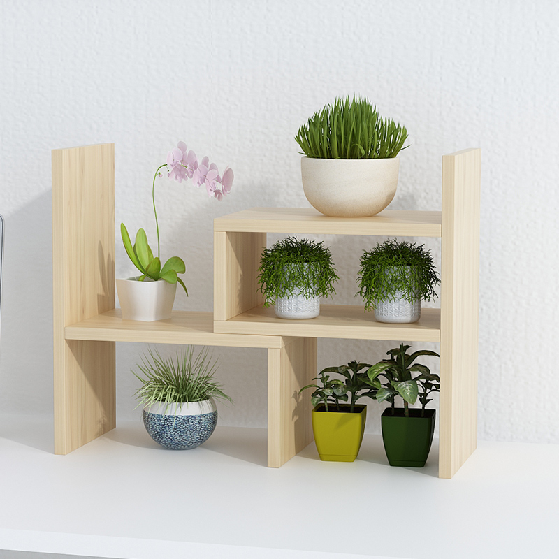 Household Flower Shelf Multi-layer Indoor Flower Pot Rack Balcony Decoration Space Living Room Green Radish Meat Wood Legs