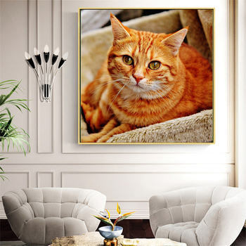 Huacan Diamond Painting 5d Animal Full Square Round Drill Diamond Embroidery Cross Stitch Cat Needlework