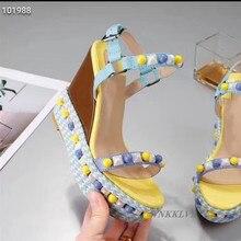 Sandals Female Platform Wedge High-Heel Colorful Decor-Shoes Ankle-Strap Summer Rivet