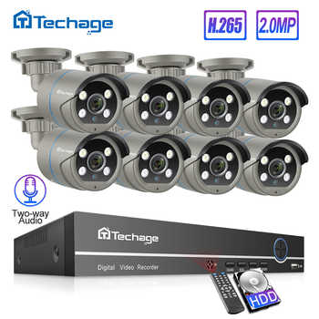 Techage H.265 8CH 1080P POE NVR Kit Up to 16CH CCTV Security System 2 Way Audio 2MP AI IP Camera Outdoor Video Surveillance Set - DISCOUNT ITEM  50% OFF All Category