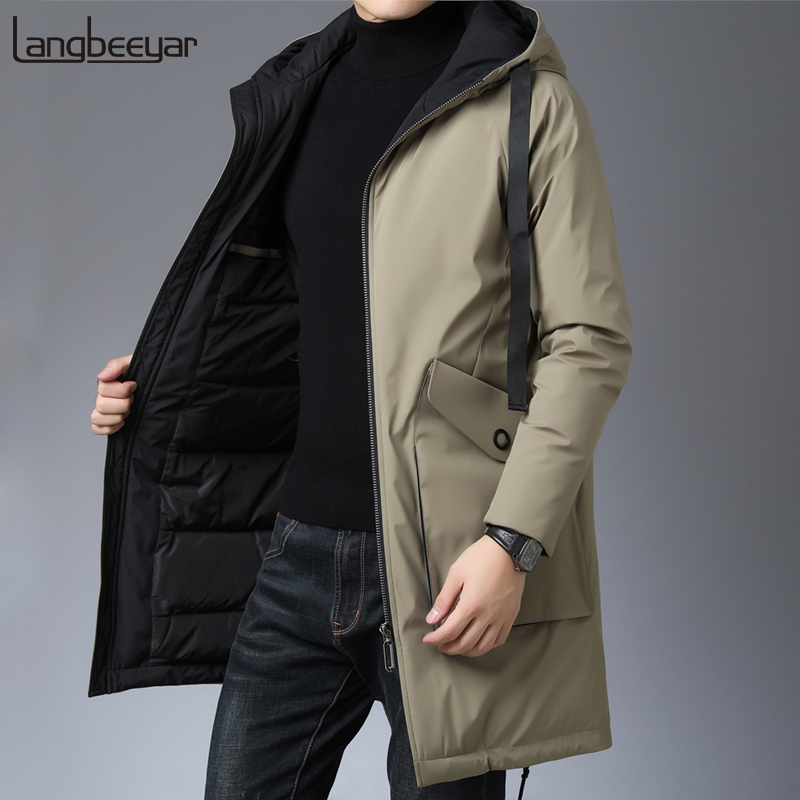 Top Grade 2019 New Winter Fashion Brand Down Jacket Men Duck Down Streetwear Feather Coats Long Hooded Warm Mens Clothing