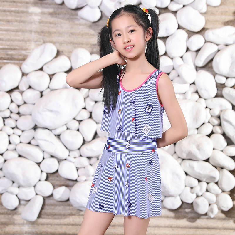 Korean-style Stripes Printed One-piece Swimming Suit 6-9-Year-Old GIRL'S Swimsuit Children Tour Bathing Suit-5535