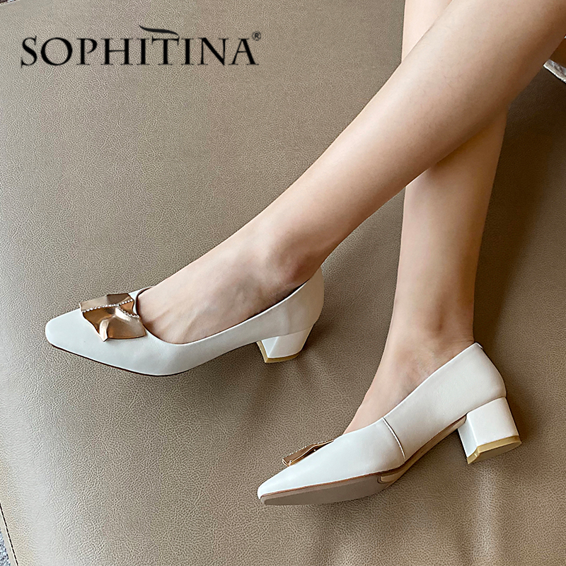 SOPHITINA Fashion Metal Decoration Pumps High Quality Sheepskin Comfortable Square Heel Women's Shoes New Shallow Pumps PO391