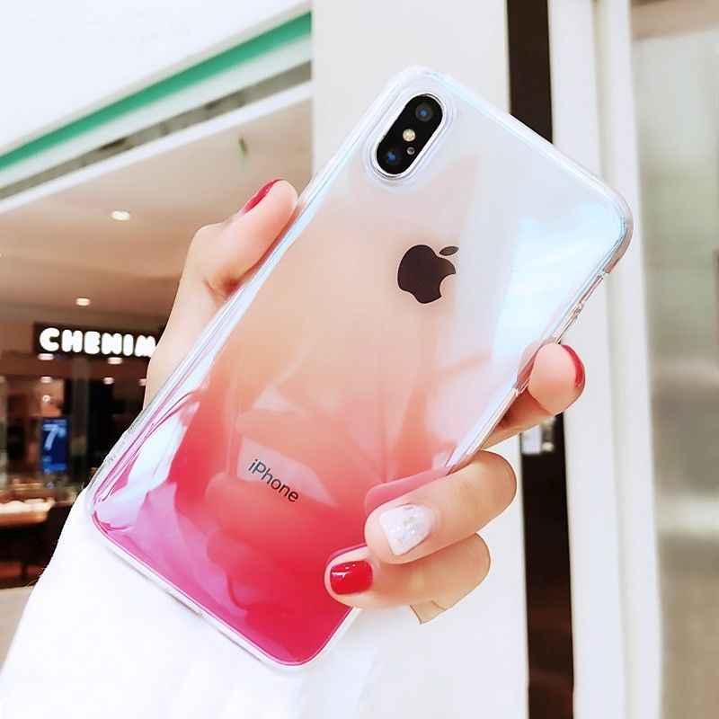 Gradien Warna Bening untuk iPhone X XR X Max 6 S 6 S 7 7Plus 7Plus transparan Lembut Silicone Warna-warni Cover Case Coque