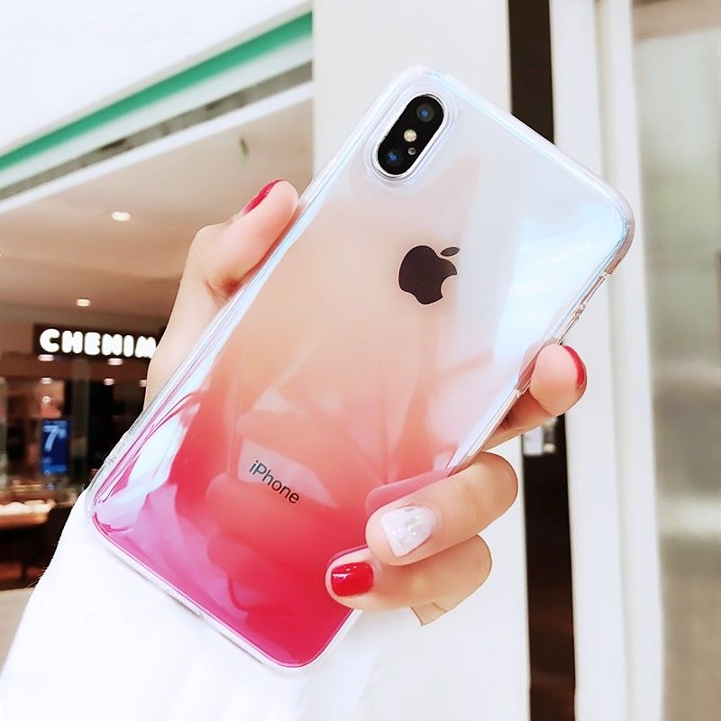 >Gradient Color Clear Phone Case For iPhone X XR XS <font><b>Max</b></font> 6 <font><b>S</b></font> 6S 7 8 Plus 7Plus Transparent Soft Silicone Colorful Cover Case Coque