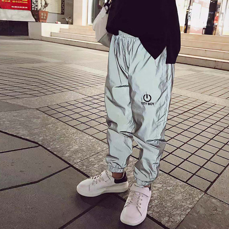 Reflective Child Pants Nine Pants Harem Casual Pants Hip Hop Elastic Waist Pants 3M Reflective Boy Girl Fashion Beam Foot Harem
