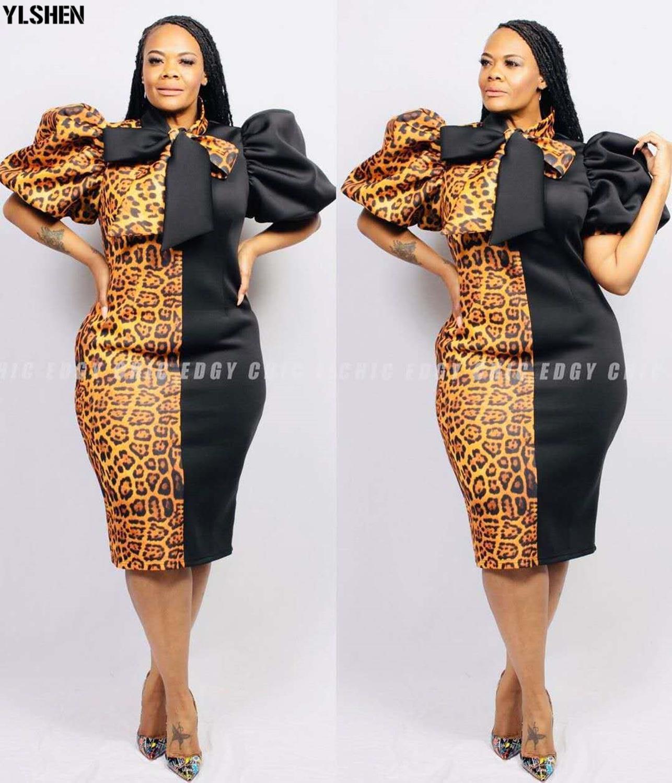 XL-5XL African Dashiki Dress For Women Brown Leopard Clothes African Dresses Print Plus Size Clothing Ankara Africa Woman Dress