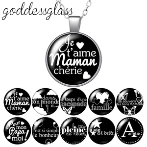 Le français J'aime maman papa famille letters Round Glass glass cabochon silver plated/Crystal pendant necklace jewelry for Gift