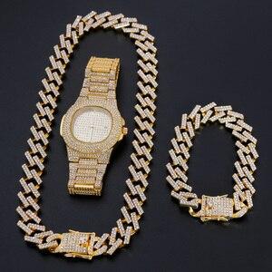 Часы + ожерелье + браслет, набор, хип-хоп, Майами, Снаряженная кубинская цепочка, золотой цвет, стразы со льдом, CZ, ювелирные изделия для мужчин...