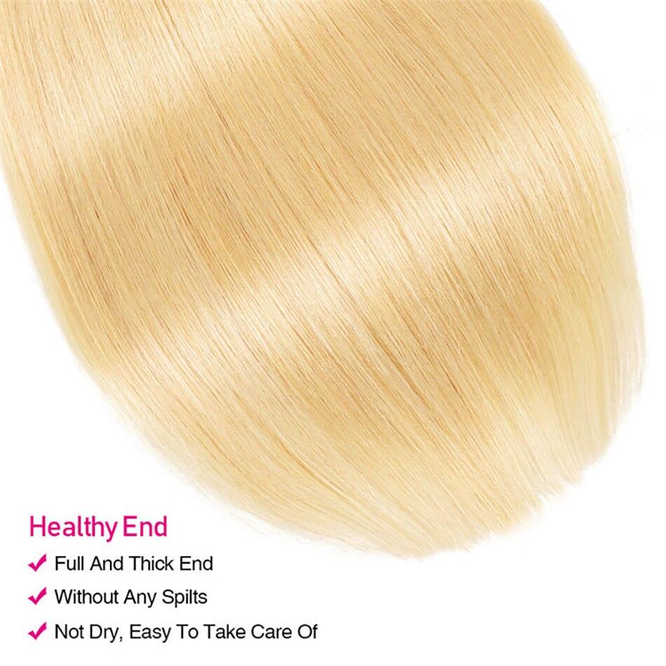 Honey Blonde Bundles With Closure Cosplay Bone Straight Human  Hair   Virgin Hair 613 Bundles And A Closure 4