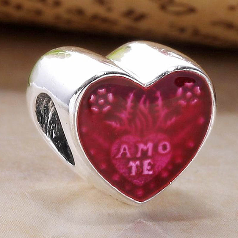 Original Enamel Latin Love Heart Beads Fit 925 Sterling Silver Bead Charm Women Bracelet Bangle DIY Jewelry(China)