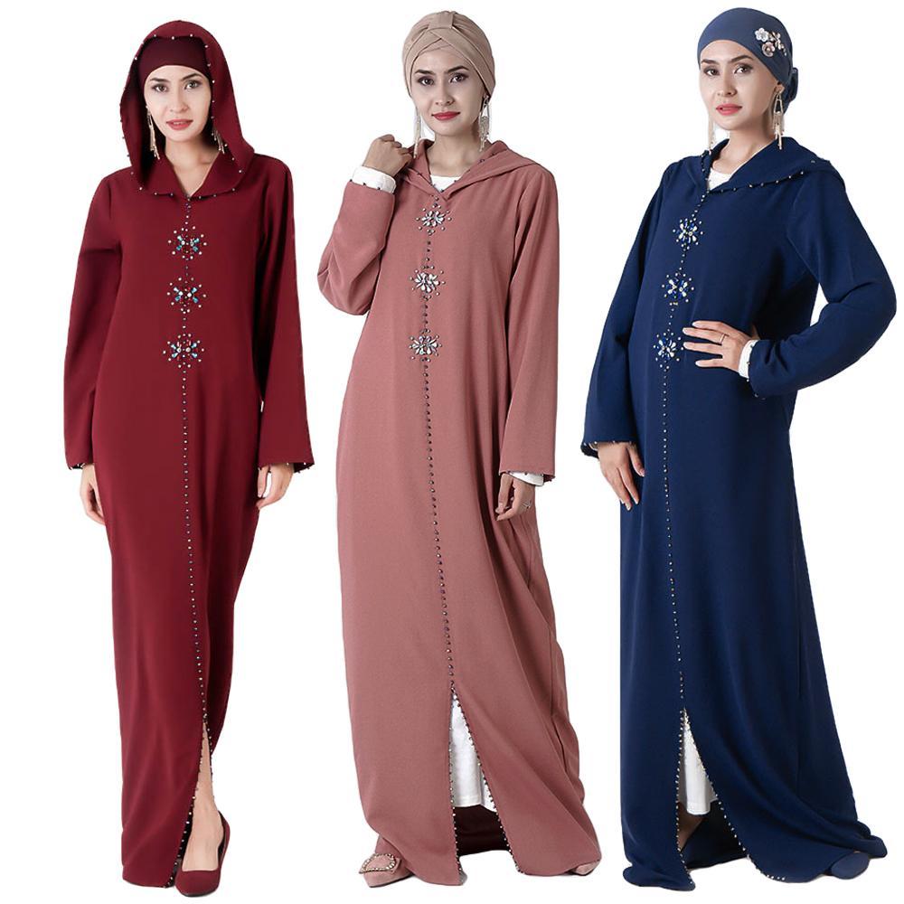2019 Autumn Moroccan Abaya Women Hooded Maxi Dress Robe Muslim Rhinestone Mexico Arab Islamic Clothing Long Sleeve Gown Jalabiya