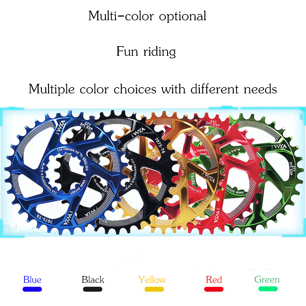 Купить с кэшбэком VXM Bicycle Chainwheel 30T 32T 34T 36T 38T Narrow Wide Bicycle Chainring For GXP XX1 X9 XO X01 CNC AL7075 Crankset Bicycle Parts