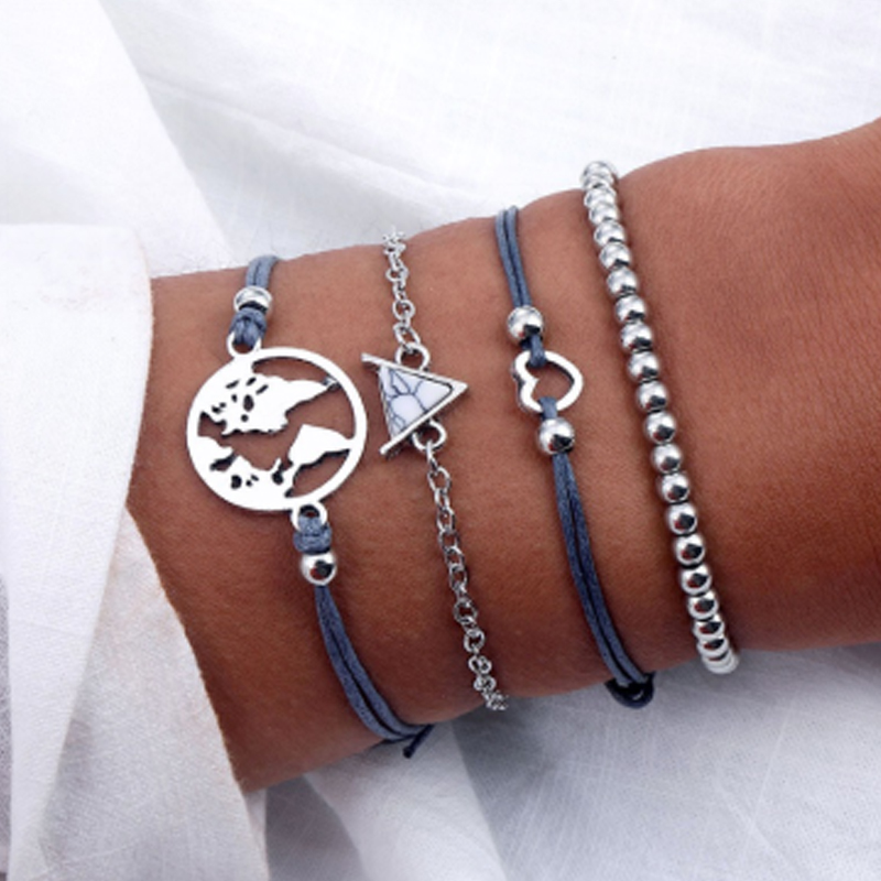 Tocona Bohemian Beads Chain Bracelets Bangles for Women Fashion Vintage Heart Compass Gold Color Chain Bracelets Sets Jewelry 2