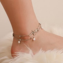 New Boho Double Layer Pearl Anklet Bracelet Personality Silver Anklets(China)