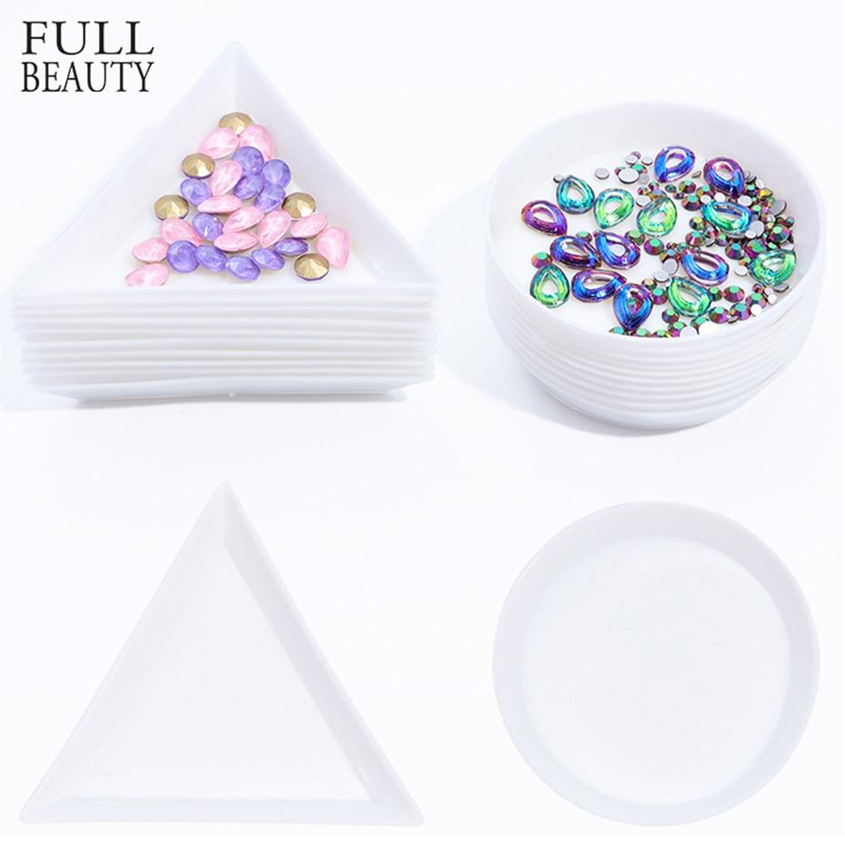 5pcs White Plastic Round Triangle Nail Art Box Plate Rhinestone Display Holder Storage Container Acrylic Nail Supplies CHA11-1