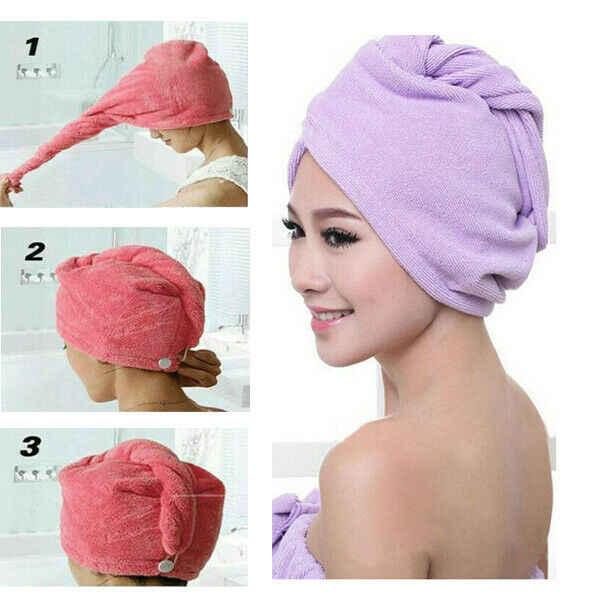 Magia z mikrofibry do włosów ręcznik kapelusz moda bielizna w jednym kolorze szybkoschnący Turban czepek kąpielowy