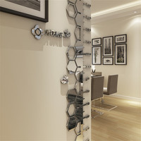 3d Height Measure Stickers Kids Room Living Room Height Ruler Wall Stickers Silver Wallpaper Sticker Home Decoration Wall Decor