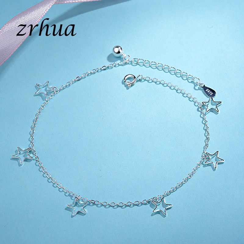 S925 Sterling Silver Star Anklets Fine Jewelry Women Creative Sweet Birthday Party Gift for Wedding Engagement