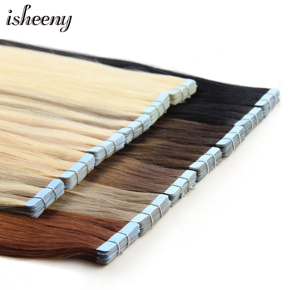 "Isheeny Remy Human Hair Tape Extensions 12""-22"" Skin Weft Seamless European Hair Extension Samples For Salon Hair 10pcs 20pcs"