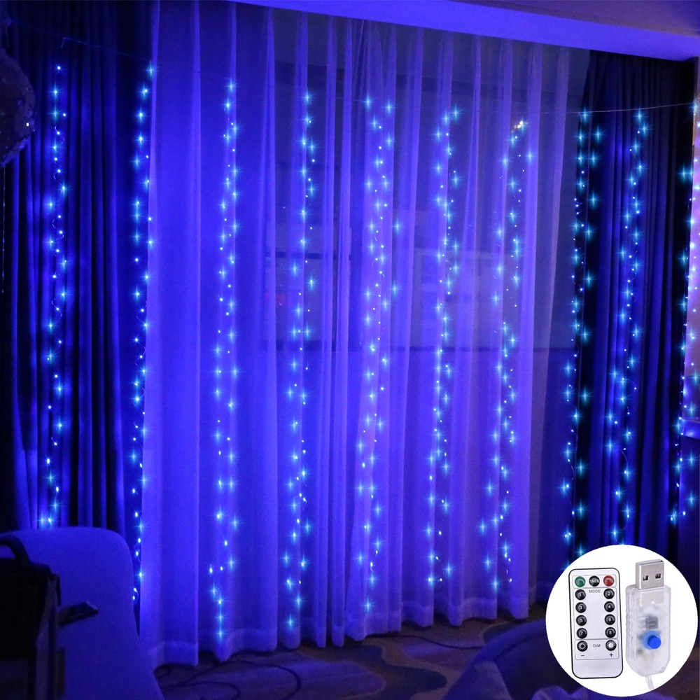 300LED Light String USB Remote Control Copper Curtain Light Christmas Day Bedroom Room Layout Lantern