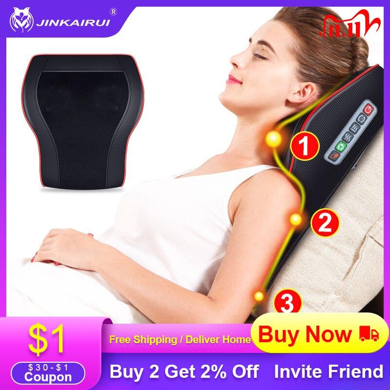 Jinkairui Electric Heat Neck Shoulder Back Waist Leg Foot Body Cervical Massager with 16 Roller Mass