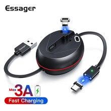 Essager-Cable magnético retráctil para iPhone y Android, Cable Micro USB tipo C, cargador de carga rápida, Cable plano Magent