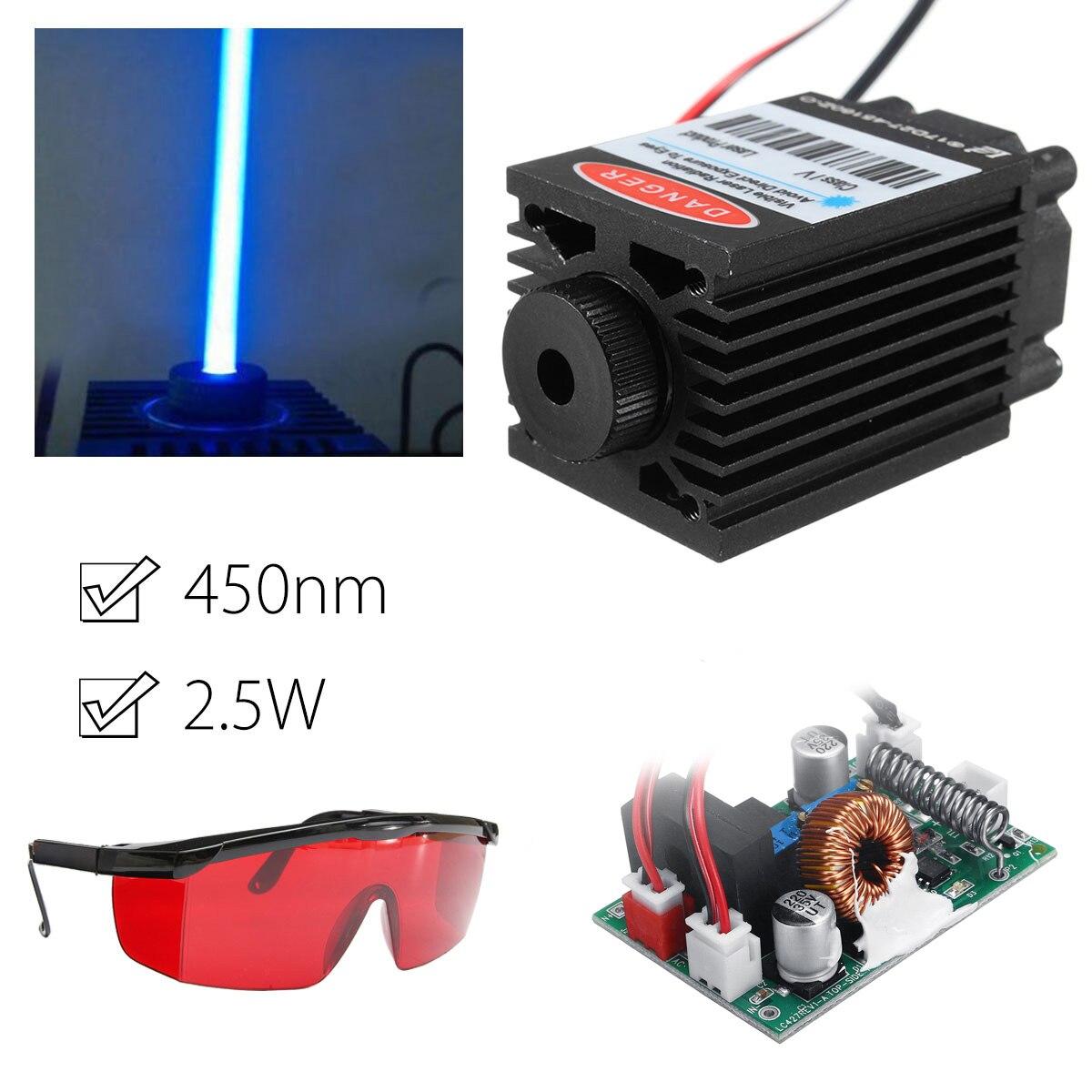 2.5 w 450nm módulo laser azul ttl 12 v focalizável de alta potência + óculos de proteção para cnc corte a laser máquina gravura peças para trabalhar madeira
