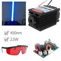Module Laser bleu 2.5W 450nm TTL 12V focalisable haute puissance + lunettes pour la découpe de CNC
