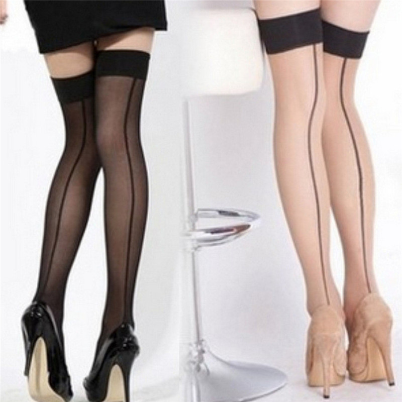 Women's Lace Lingerie Stripe Elastic Stockings Transparent Black Fishnet Stocking Thigh Sheer Tights Embroidery Pantyhose