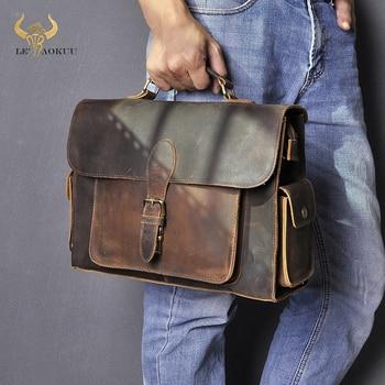 "Men Real Leather Designer Business Briefcase 13"" Laptop Document Case Fashion Commercia Attache Portfolio Crossbody Bag 2058"