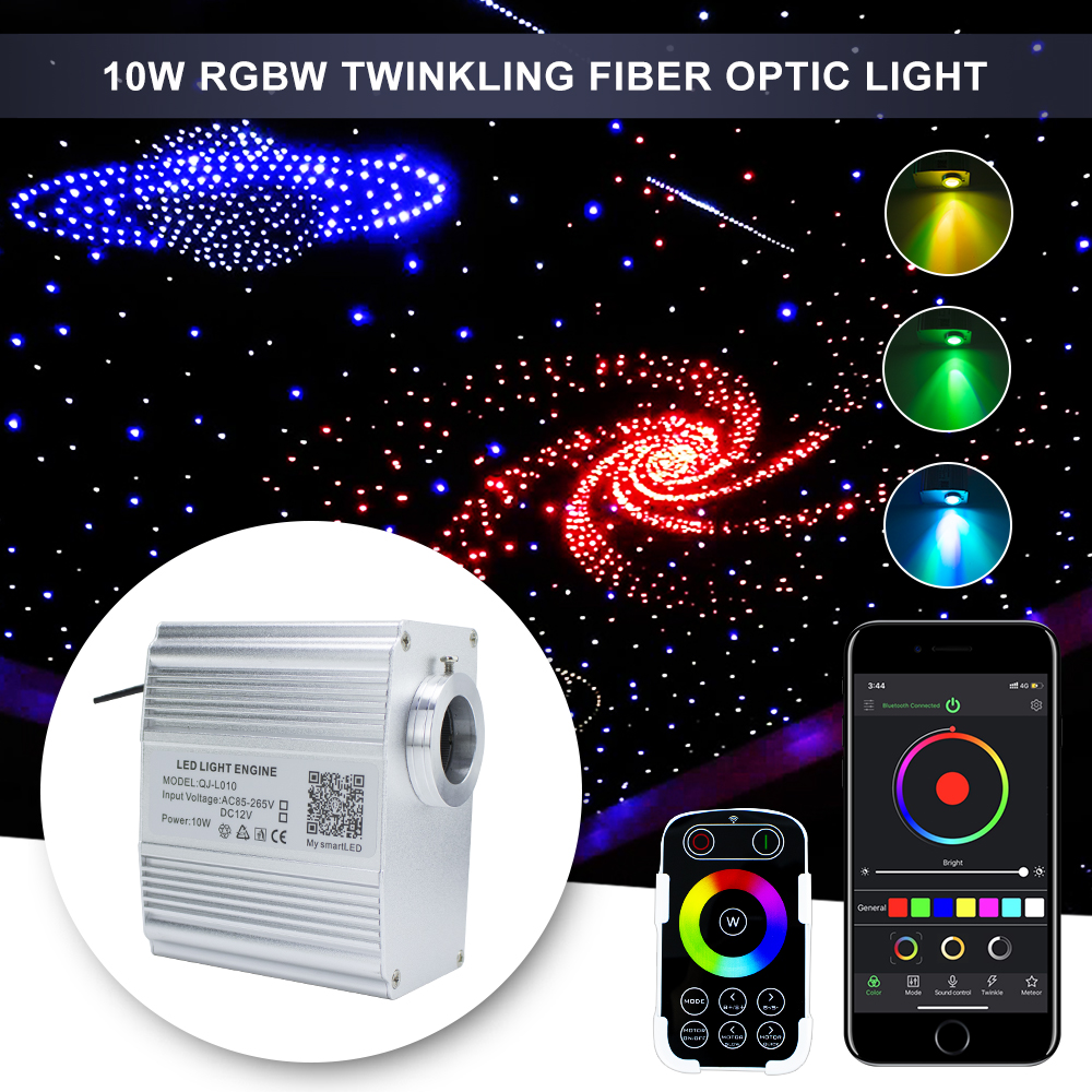 10W RGBW Twinkle  Fiber Optic Light Engine Bluetooth APP  Music Control With RF Remote  Star Ceiling  LED Lights Source Driver