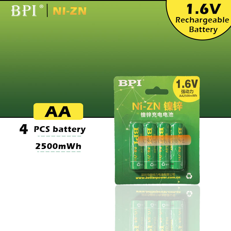 4 pièces BPI Bateria AA piles 1.6V Nickel-Zinc 2500mWh ni-zn 2A aa batterie Rechargeable