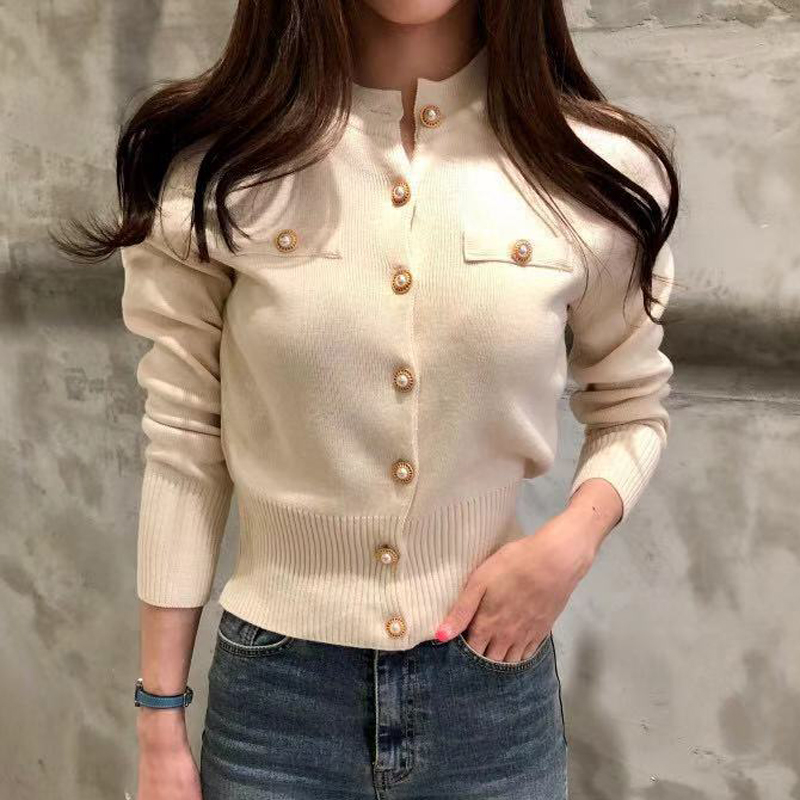 Lucyever Fashion Women Cardigan Sweater Spring Knitted Long Sleeve Short Coat Casual Single Breasted Korean Slim Chic Ladies Top