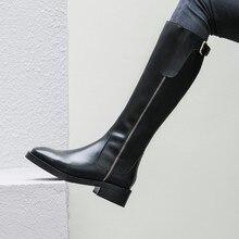 Но сапоги до колена; новые кожаные сапоги; сапоги на плоской подошве; высокие сапоги в британском стиле