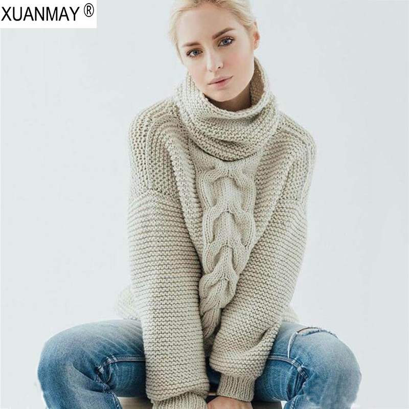 2019 Winter Women's Thick Turtleneck Sweater Women's Clothing Heavy Pullover Sweater Chunky Cozy Warm Woolen Autumn Sweater