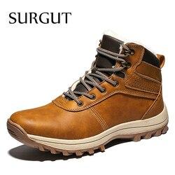 SURGUT Homens Botas de Couro Genuíno Lace-up Sapatos Masculinos De Alta Qualidade Botas de Neve Outono Inverno Britânico Do Vintage Homens Casuais ankle Boots