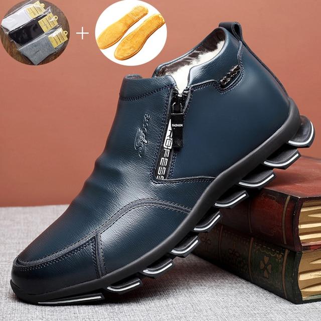 Brand New Men's Winter Sneaker Leather Boots Wool and Cotton Men's Fur Leisure High-top Shoes Plus Velvet Warm Men's Shoes 6