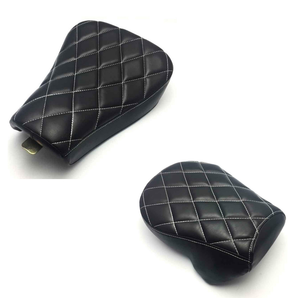 Black Stitched Leather Front Driver Solo Seat Rear Passenger Pad Cushion For Harley Sportster XL1200 XL883 48 2007-2015