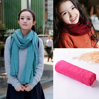 New Style CHILDREN'S Scarf Cute Solid Color Baby Silk Scarves Men And Women Children Versatile Scarf Parent And Child Around