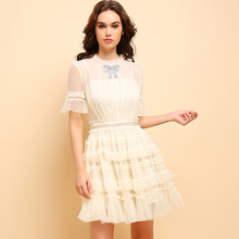 Baogarret Summer Fashion Apricot Dress Women's Casual Short Sleeve Mesh Overlay Beading Ruffle Elegant Party Cupcatke Dress girls ruffle knot back mesh overlay dress