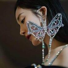 1 pc exagerada colorido strass grande borboleta orelha gancho brincos de gota para a menina luxo cristal borla balançar brincos jóias