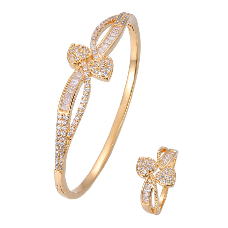 HONGHONG Women's plant leaf bracelet ring two piece set high quality 3A zircon heart 2pcs set temperament fashion jewelry