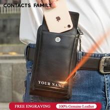 حافظة هاتف عائلية من CONTACTS لهاتف آيفون 11 برو ماكس ماسنجر حقيبة كروس صغيرة من الجلد للرجال حافظة لهاتف آيفون 8 se 2020
