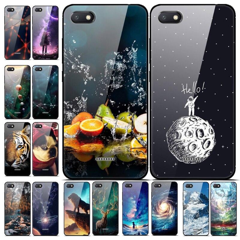 For Xiaomi Redmi 6A 7A 8A Case Cover Tempered Glass Case Phone Cover For Xiomi Redmi 8 8A A8 Phone Back Fundas Redmi 7A Redmi7A