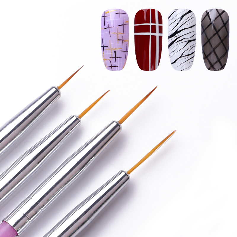 4Pcs/Set Liner Brush Drawing Painting Flower Pen Mixed Size Plastic Handle Nail Art Brushes Kit