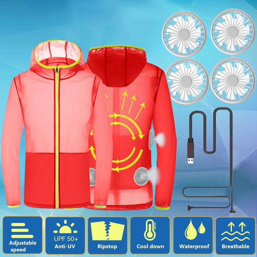 Fan Jacket Windbreaker Summer Blouse Sunscreen Air-Conditioned Cooling Fast-Drying Outdoor
