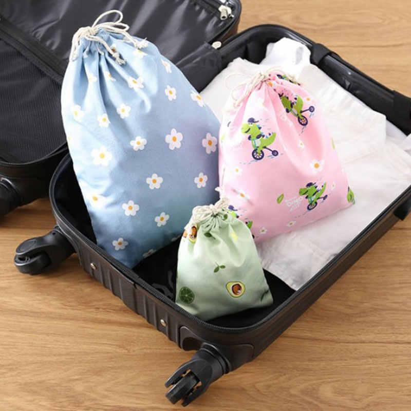 Retro Frauen Baumwolle Kordelzug Einkaufstasche Mode Eco Reusable Falten Lebensmittelgeschäft Tuch Unterwäsche Tasche Reise Hause Lagerung
