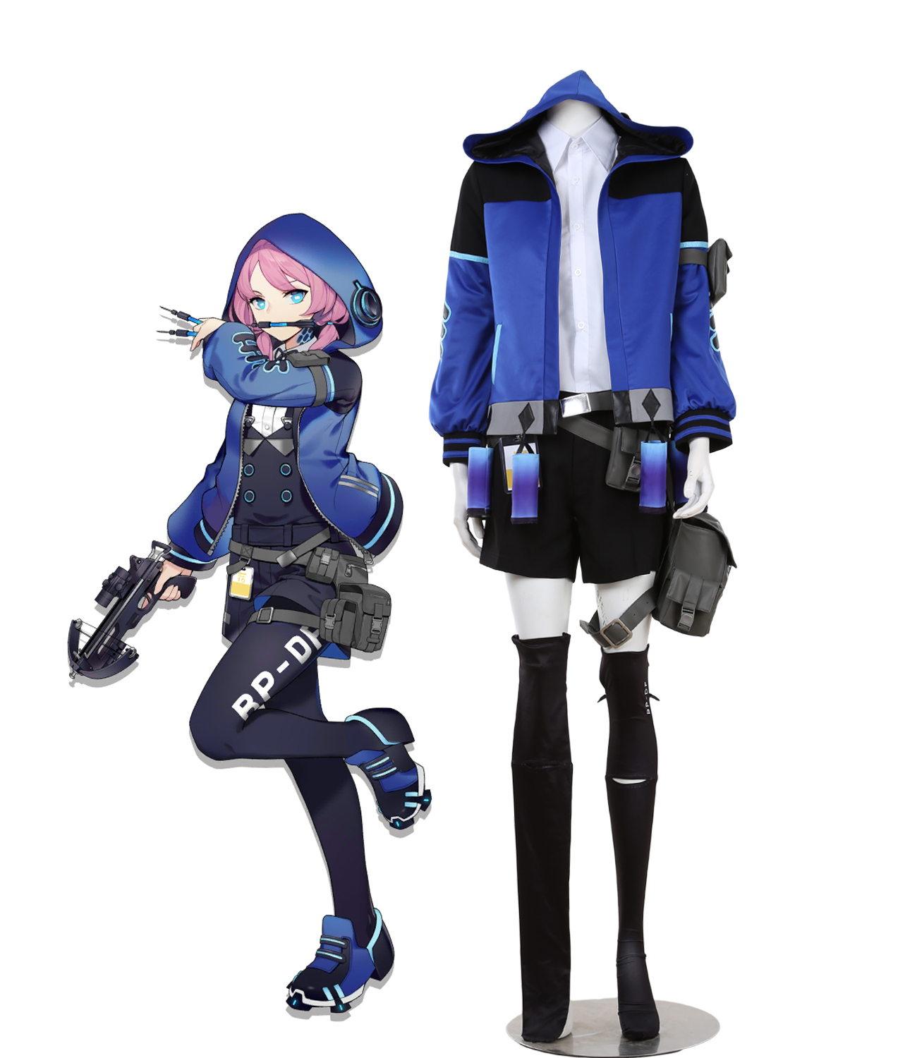 Game Arknights Blue Poison Cosplay Costume Full Set Custom Made for Boys and Girls Any Size