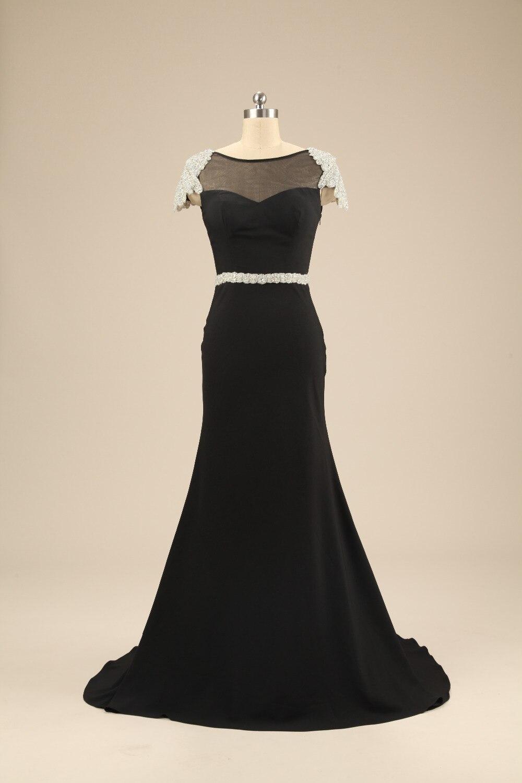 2015 FM Formal Scoop Neckline Cap Sleeves Court Train V-back Straight Spandex Black Gown Custom Long Evening Dresses